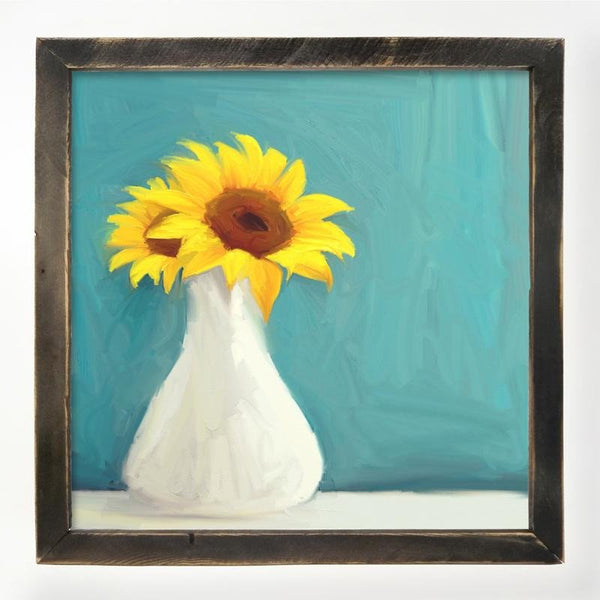 Sunflowers in white vase XL / Black
