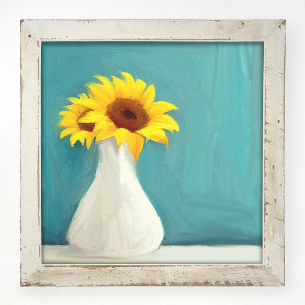 Sunflowers in white vase XL / White
