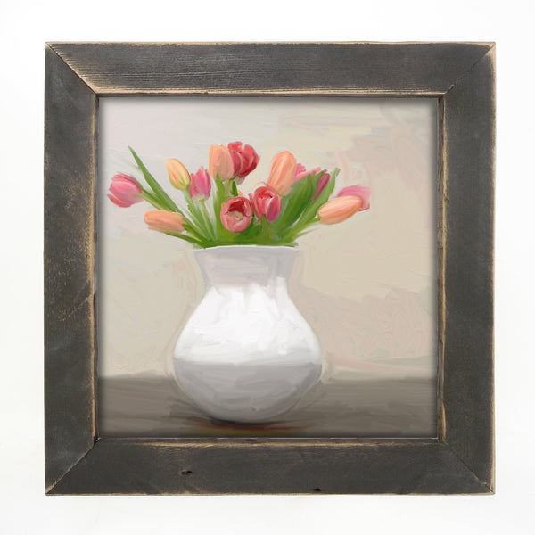 Tulips in white vase Large / Black
