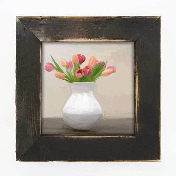 Tulips in white vase Small / Black