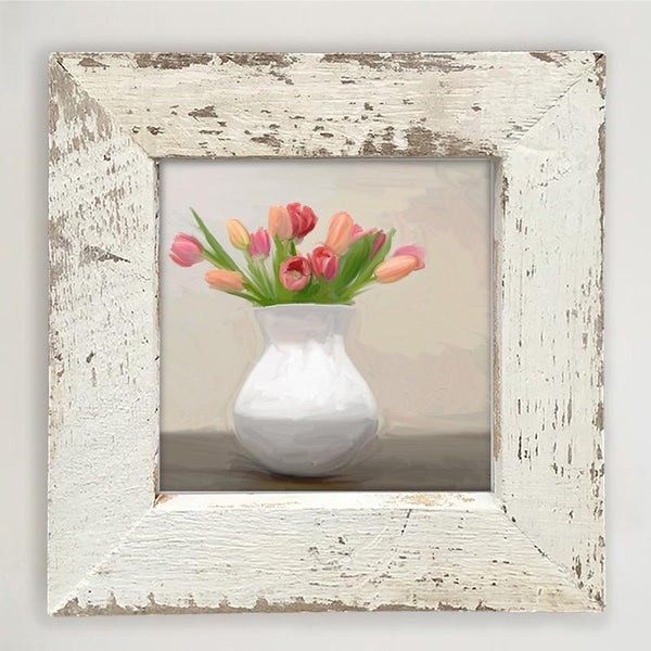 Tulips in white vase Small / White