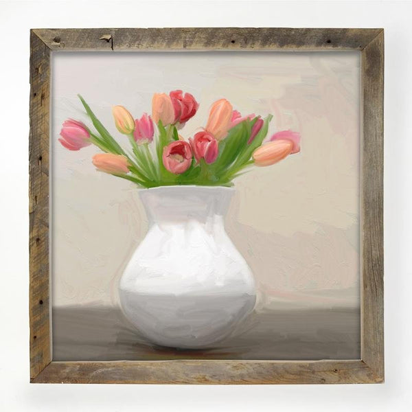 Tulips in white vase XL / Natural