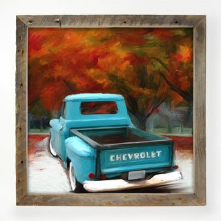 old chevy with fall trees XL / White