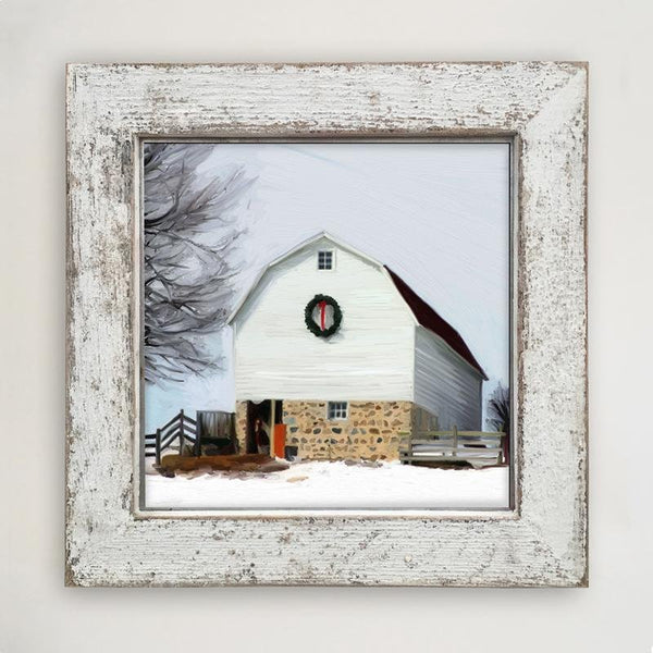 Barn with wreath Large / White