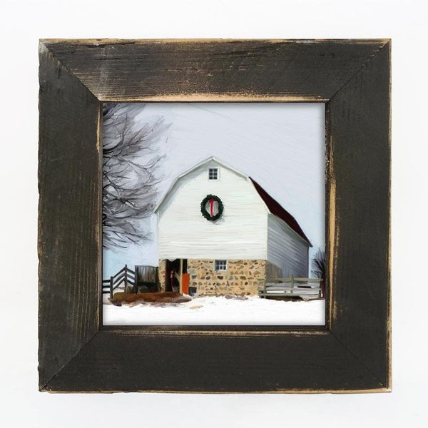Barn with wreath Small / Black