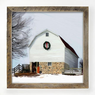 Barn with wreath XL / White