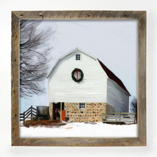 Barn with wreath XL / Natural