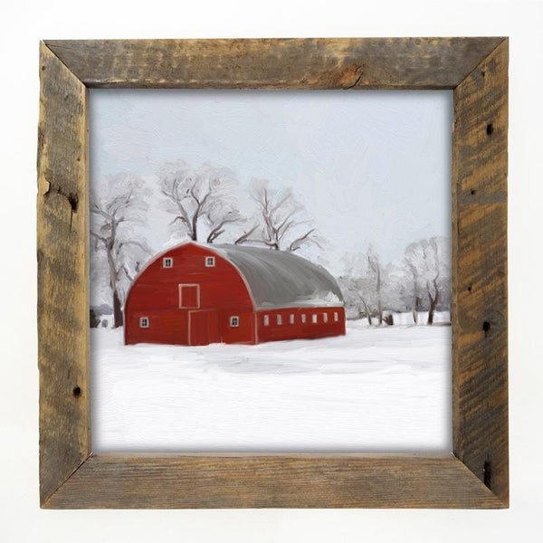 Natural large Barnwood framed  winter scene with arched barn