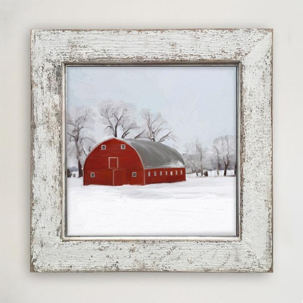 White large  Barnwood framed  winter scene with arched barn