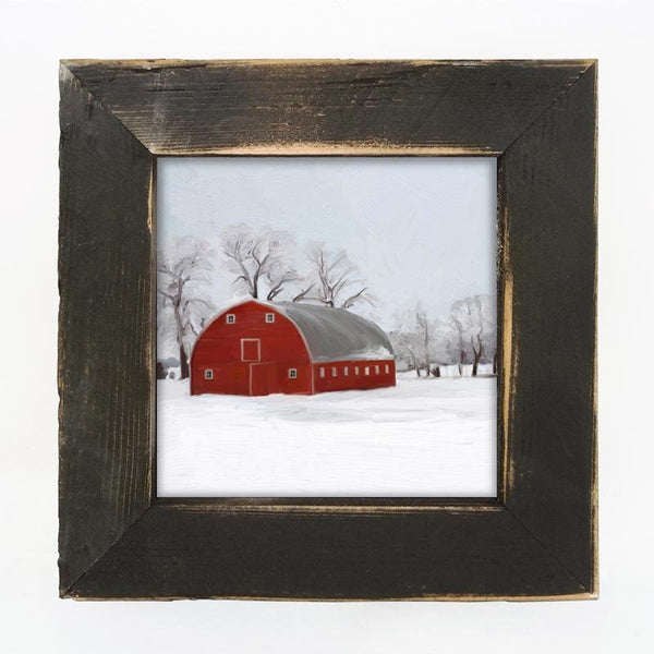 Black small  Barnwood framed  winter scene with arched barn