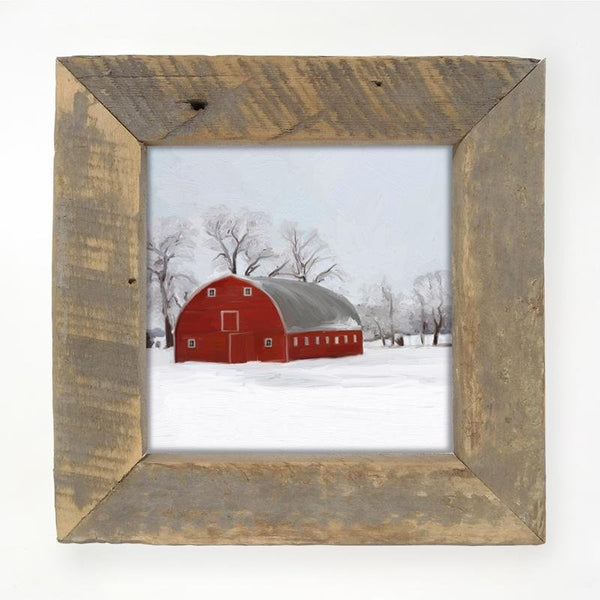 Natural small  Barnwood framed  winter scene with arched barn