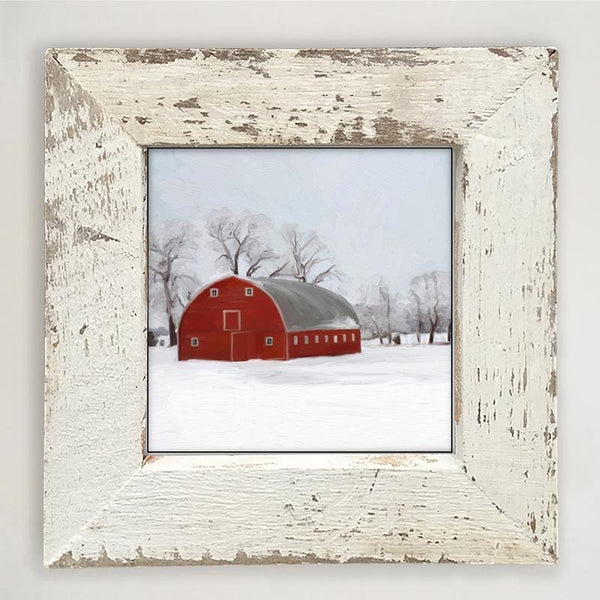 White small  Barnwood framed  winter scene with arched barn