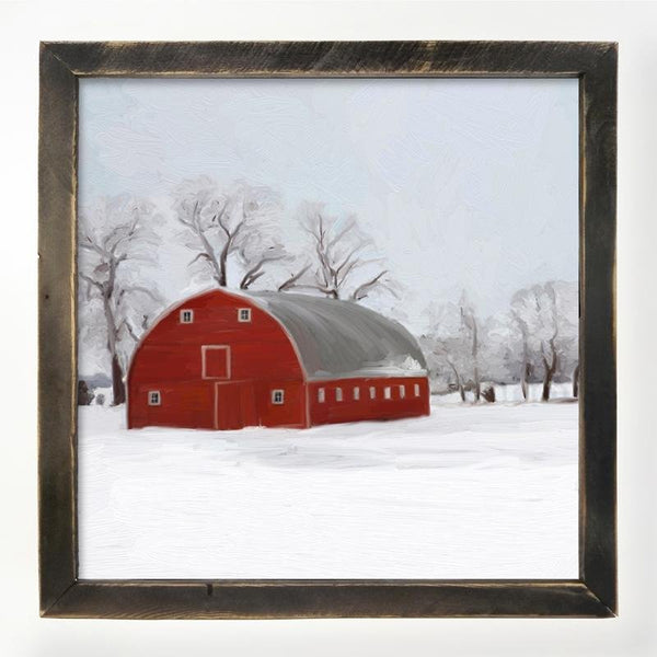 Black XL  Barnwood framed  winter scene with arched barn