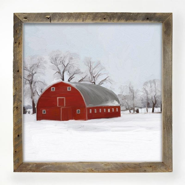 Natural  XL Barnwood framed  winter scene with arched barn