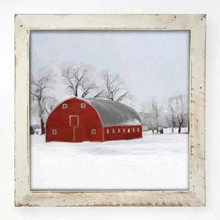 White XL Barnwood framed  winter scene with arched barn