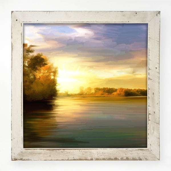 Autumn Lake Tree shoreline XL / White