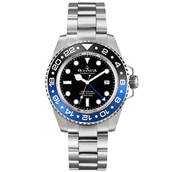 Oceaneva™ Men's GMT Deep Marine Explorer 1250M Pro Diver Watch Blue and Black