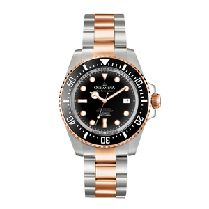 Oceaneva™ Men's Deep Marine Explorer 1000M Pro Diver Watch Black and Rose Gold