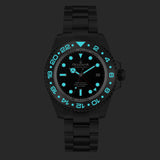Oceaneva™ Men's GMT Deep Marine Explorer 1250M Pro Diver Watch Black