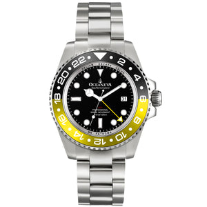 Oceaneva™ Men's Deep Marine Explorer 1000M Pro Diver Watch Black Mother Of Pearl