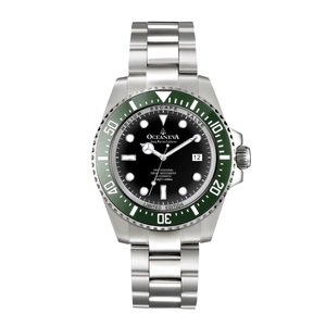 Oceaneva™ Men's Deep Marine Explorer 1000M Pro Diver Watch Black and Green