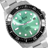 Oceaneva™ Men's Deep Marine Explorer II 1250M Pro Diver Watch Aquamarine Burst Dial