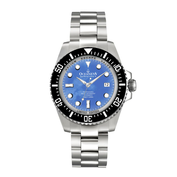 Oceaneva™ Men's Deep Marine Explorer II 1250M Pro Diver Watch Blue Mother Of Pearl