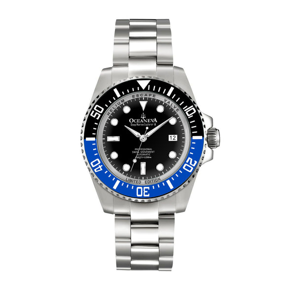 Oceaneva™ Men's Deep Marine Explorer II 1250M Pro Diver Watch Blue and Black