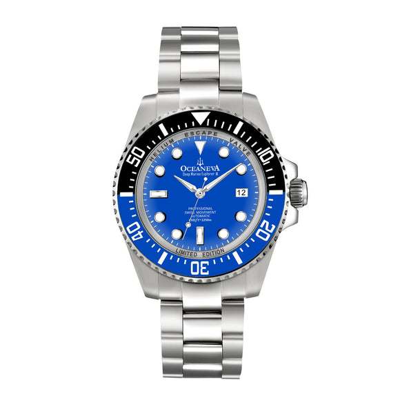 Oceaneva™ Men's Deep Marine Explorer II 1250M Pro Diver Watch Blue Dial