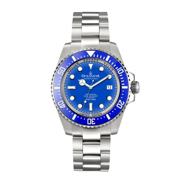 Oceaneva™ Men's Deep Marine Explorer 1000M Pro Diver Watch Blue