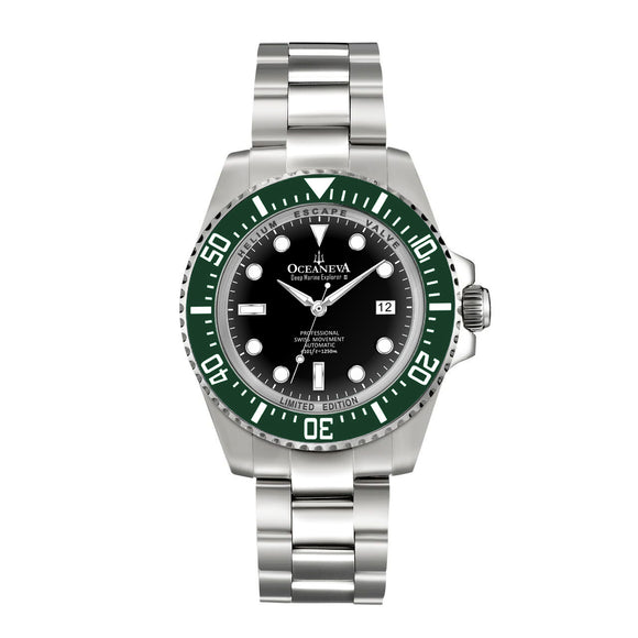 Oceaneva™ Men's Deep Marine Explorer II 1250M Pro Diver Watch Black and Green
