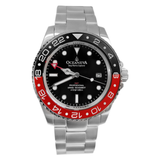 Oceaneva™ Men's GMT Deep Marine Explorer 1250M Pro Diver Watch Red and Black