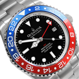 Oceaneva™ Men's GMT Deep Marine Explorer 1250M Pro Diver Watch Blue and Red