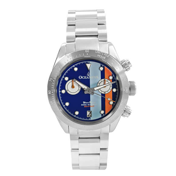 Oceaneva™ Men's WaveRacer™ 500M Pro Diver Blue Dial Racing Stripes Chronograph Watch