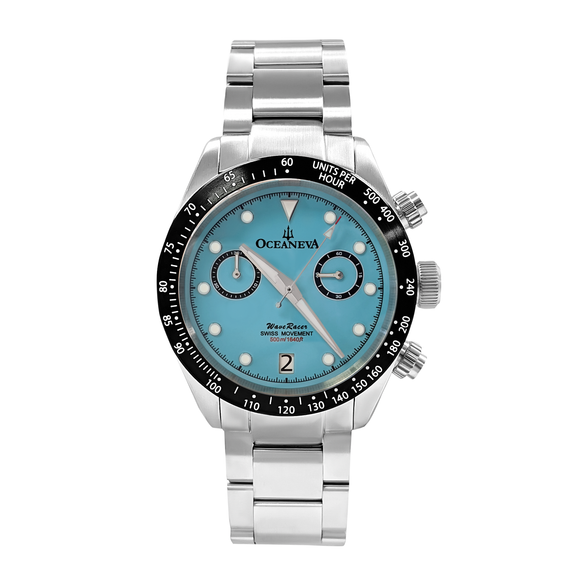 Oceaneva™ Men's WaveRacer™ 500M Pro Diver Aquamarine Color Dial Chronograph Watch