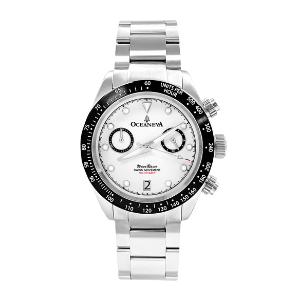Oceaneva™ Men's WaveRacer™ 500M Pro Diver White Dial Panda Chronograph Watch