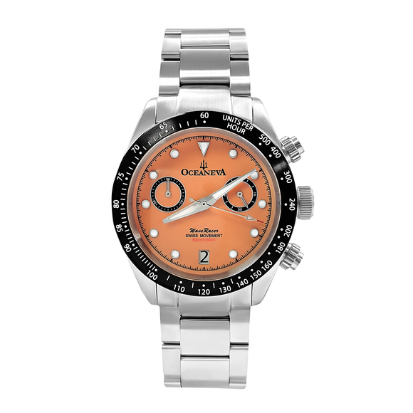 Oceaneva™ Men's WaveRacer™ 500M Pro Diver Salmon Dial Chronograph Watch