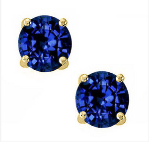 14K Solid Yellow Gold Blue Sapphire Round Cut Stud Earrings Screw Back