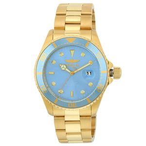 Invicta Pro Diver Men's 43mm Gold Watch with Quartz Movement Metallic Blue