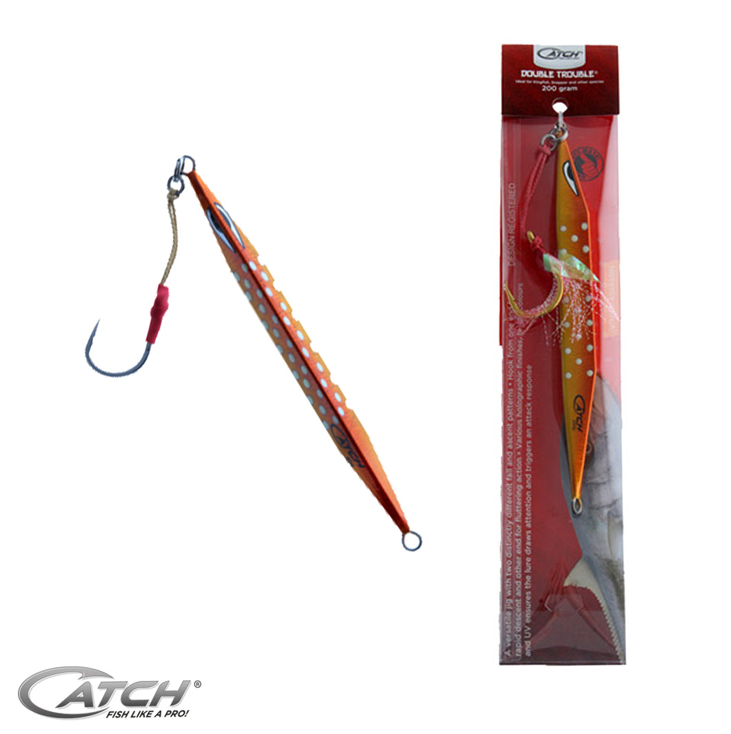 Catch Double Trouble Orange Assassin (60g-300g) - LURE ME - Online Fishing Tackle.