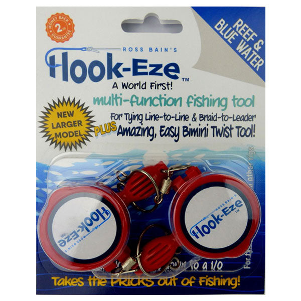 Large Hook Eze Fishing Knot Tying Tool - Reef and Blue Water Twin Pack in Red - LURE ME - Online Fishing Tackle.