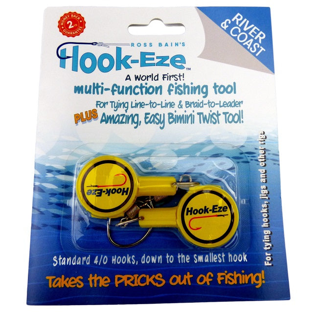 Hook Eze Fishing Knot Tying Tool - River and Coast Twin Pack in Yellow - LURE ME - Online Fishing Tackle.