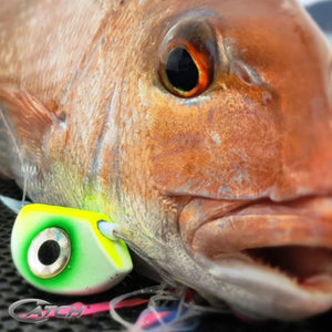 Catch Beady Eye Kabura Jig in Pink Crackle with Glow and UV (60-150g) - LURE ME - Online Fishing Tackle.