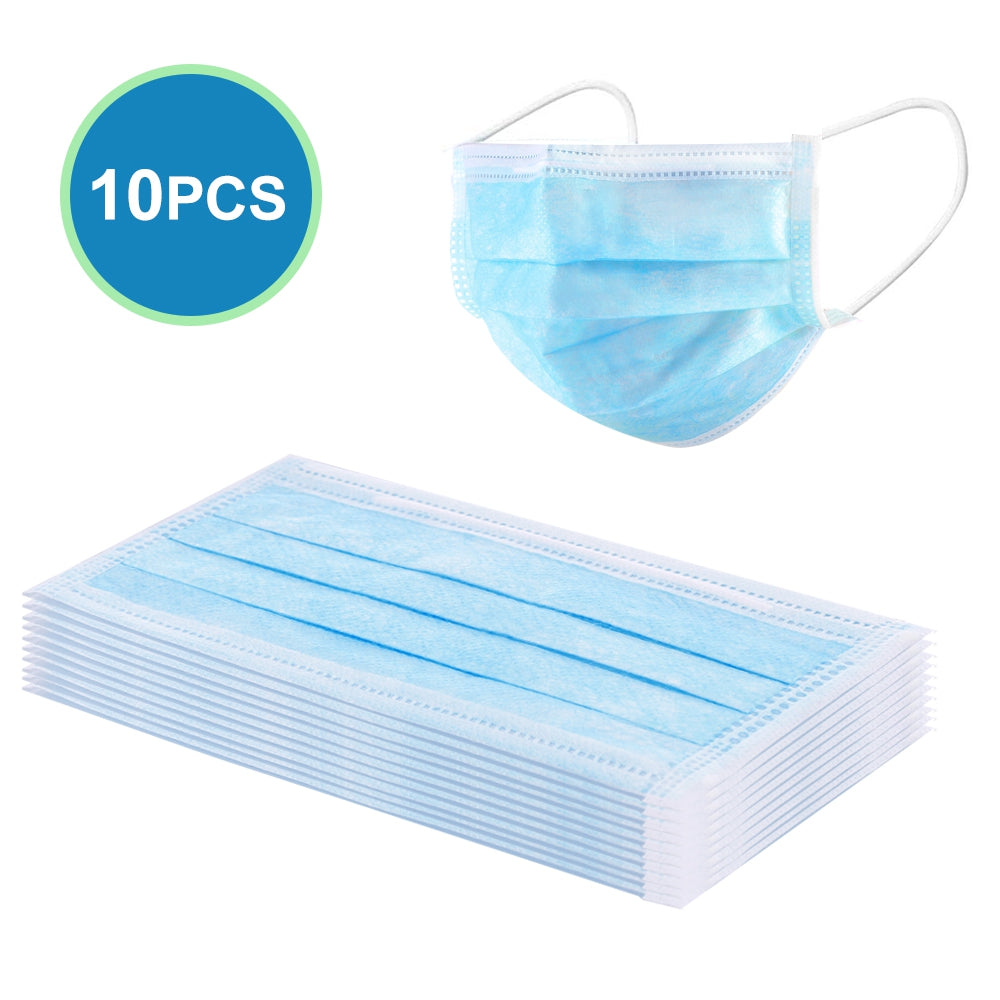 10PCS Disposable Face Masks Elastic Earloop Dustproof Anti-bacteria Spit Splash Protection for Health Care