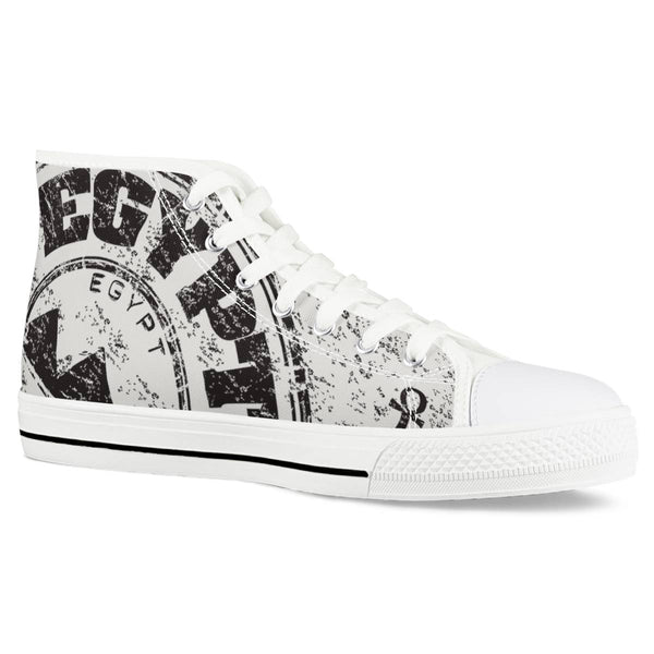 Emcee Pyramids of Giza - White High Top Canvas Shoes
