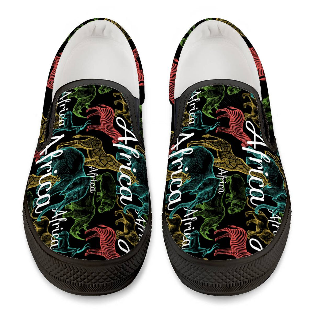 African Safari - Black Slip On Shoes