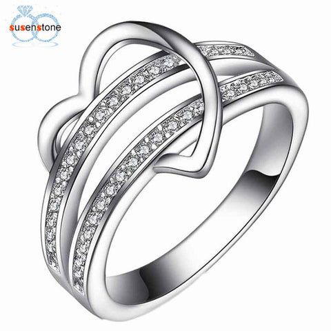 SUSENSTONE Bling Heart Love Women Wedding Ring - GirlsThingShop