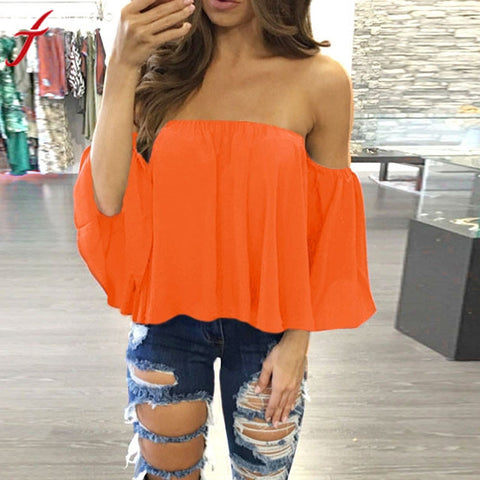 Off Shoulder Sleeveless Blouse - GirlsThingShop