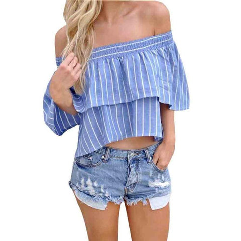 Off shoulder stripe blouse Summer - GirlsThingShop