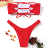 High Cut Ribbed Bandeau Bikini Set - GirlsThingShop